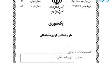 Photo of متن طرح « شفافیت آرای نمایندگان »