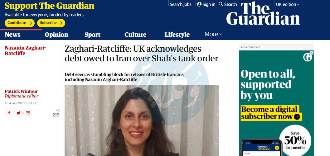 گزارش روزنامه گاردین از نامه وزیر دفاع انگلیس به وکلای نازنین زاغری